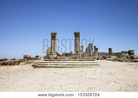 Ruins of city Volubilis, Roman city, Morocco, ancient capital of the kingdom of Mauretania.