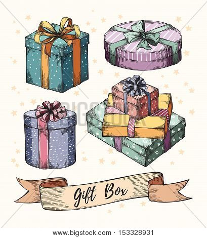Collection of hand drawn graphic gift boxes with ribbons and bows. Christmas, New Year Birthday celebration present logo, icon, card