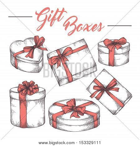 Collection of hand drawn graphic cketch gift boxes with ribbons and bows. Christmas, New Year, Birthday celebration present logo, icon, card