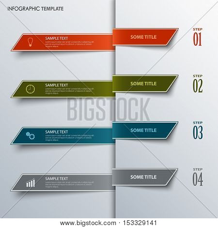 Info graphic with design colorful bookmarks template vector eps 10