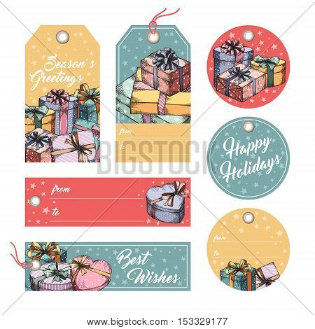 Collection of gift tags, badges, labels template. Set of gift paper tags with hand drawn graphic sketch of boxes with presents