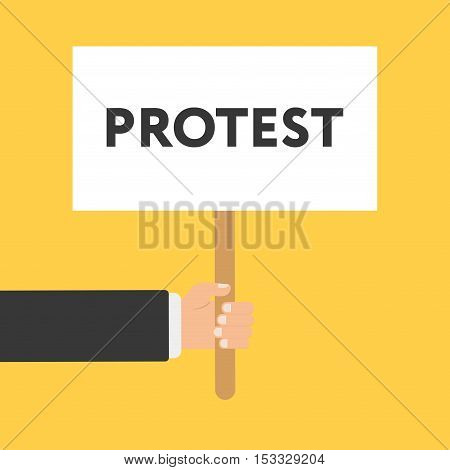 Businessmen holding a signboard with the word PROTEST. Vector illustration in flat style isolated