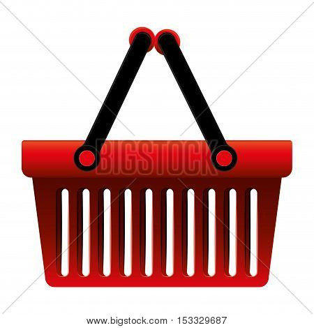 shopping red basket with black handles over white background. vector illustration