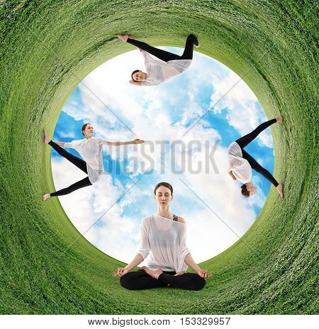 Stereographic panoramic projection of a green field with woman doing yoga