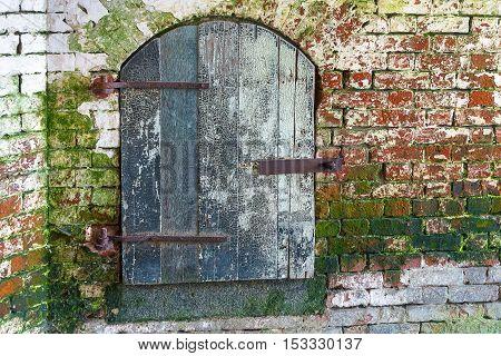 Entrance wooden door in an old wine cellar