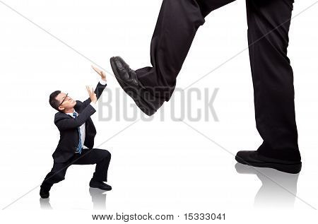 businessman beg do not hurt him.Isolated with white background