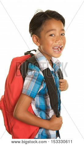 Cute Filipino Boy on a White Background wearing a backpack and a big open mouthed expression