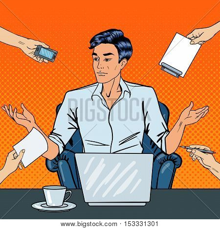 Disappointed Pop Art Businessman with Laptop Throws Up His Hands at Multi Tasking Office Work. Vector illustration
