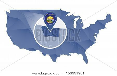 Montana State Magnified On United States Map.