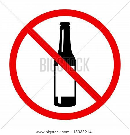 Non alcohol symbol with beer bottle, vector illustration