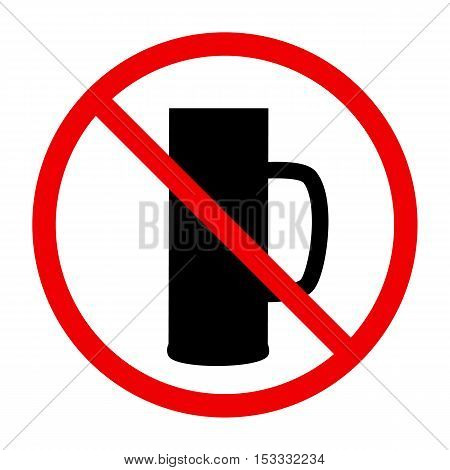 Non alcohol symbol with beer glass, vector illustration