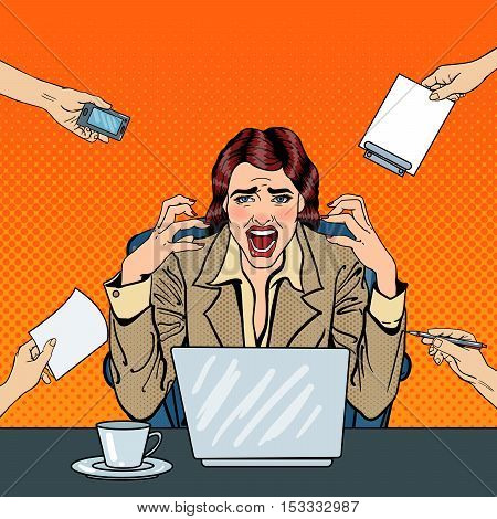 Pop Art Frustrated Stressed Business Woman Screaming at Multi Tasking Office Work. Vector illustration