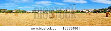Panorama from hay bales in the fields near Aljezur in Portugal