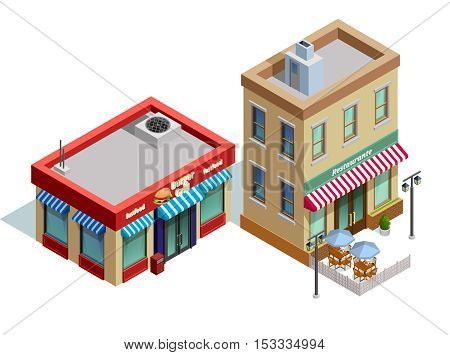 Restaurant buildings isometric composition with fast food and high quality restaurant symbols vector illustration