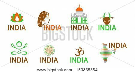 illustration - set of logos - dedicated to the culture of India.