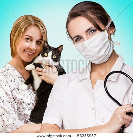 Veterinarian woman with cat isolated on white background