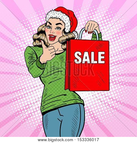 Pop Art Beautiful Woman with Christmas Sale Shopping Bags Thumbs Up. Vector illustration