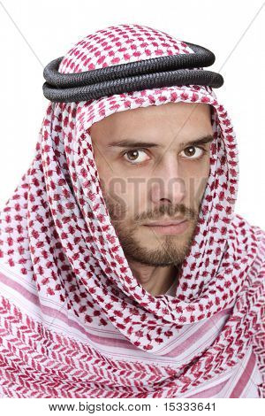 Portrait of a young Arabic man wearing a turban isolated on white background