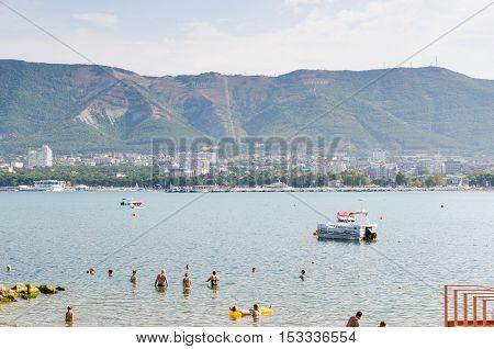 Gelendzhik Krasnodar Krai Russia - August 23 2016. View from the public beach on the bay.