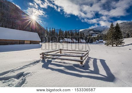 Covered By Snow Mountain Cottages In The Tatra Mountains In Winter, Poland