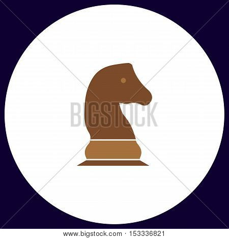 Chess knight Simple vector button. Illustration symbol. Color flat icon
