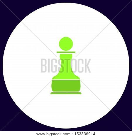 Chess Pawn Simple vector button. Illustration symbol. Color flat icon