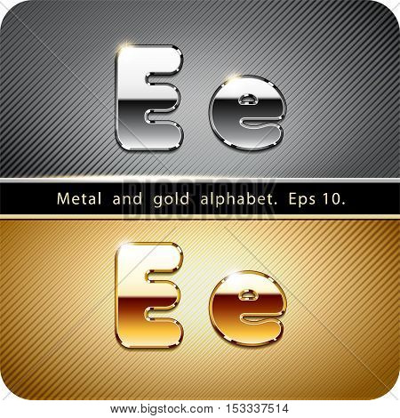 3d  set of chrome metal and gold vector alphabet. The letter