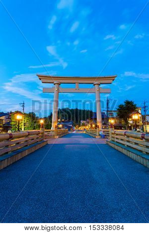 Torii Gate Miyamae Bashi Takayama Night Blue Sky V