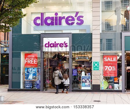 NOTTINGHAM ENGLAND - OCTOBER 22: Frontage of the Claire's Accessories store. On Listergate Nottingham England. On 22nd October 2016.