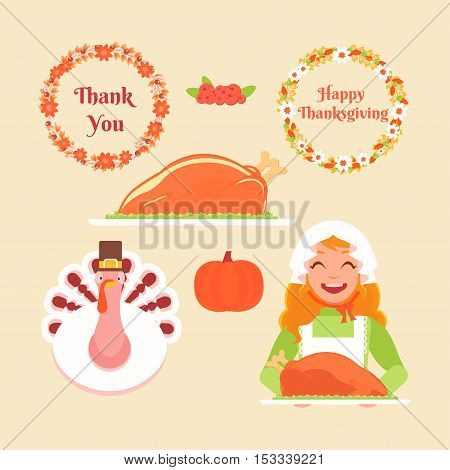 Set Thanksgiving icons. A girl holds a tray with a turkey two flower wreaths pumpkin cranberry dish of turkey turkey wearing a hat.