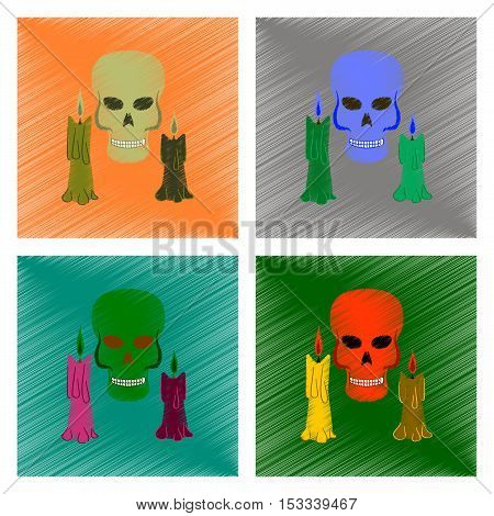 assembly flat shading style icon of candle skull