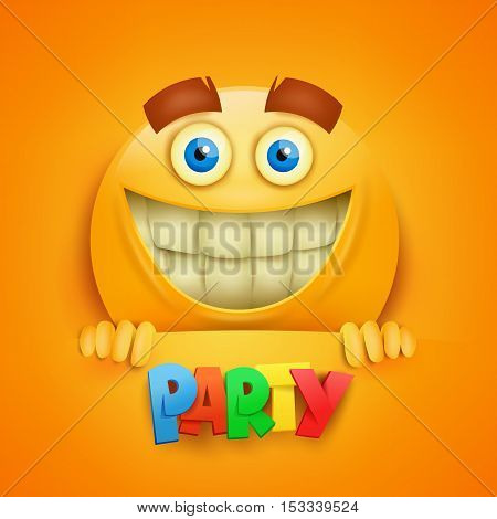 Happy yellow round face. Party title. Vector card