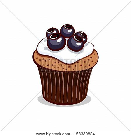 Hand drawn cupcake with blueberry and cream isolated on white background. Vector illustration. Can be used for design of bakery or for cafe.