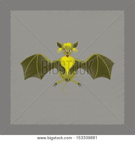 flat shading style icon of cute bat