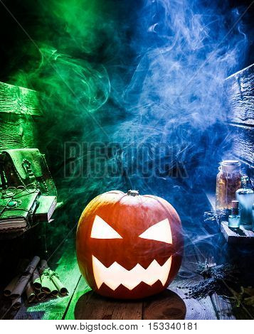 Smoking Halloween Pumpkin In Witcher Labolatory With Copy Space