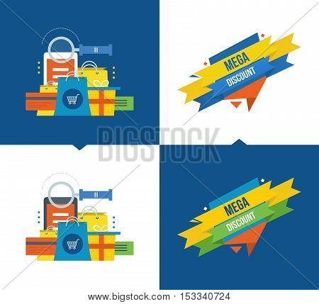 Concept illustration - methods of payment and online shopping, mobile marketing, big sales, discounts and coupon system. Vector illustrations on a light and dark background.