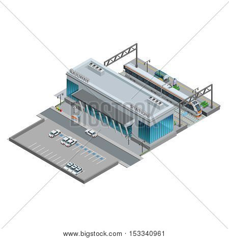 Urban railway station with cars on parking and passenger train  on platform isometric miniature vector illustration