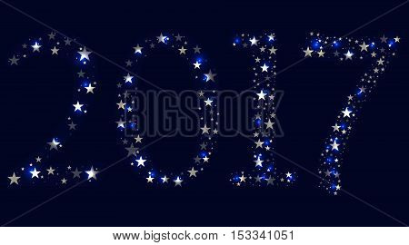 2017 happy new year. Bright stars. Vector illustration.