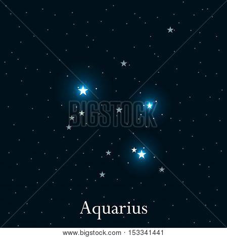Aquarius zodiac sign. Bright stars in the cosmos. Constellation Aquarius. Vector illustration.