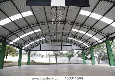 daytime shooting new sports court without activities.