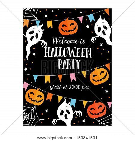 Halloween or Dia de los Muertos card party invitation. Decoration with freaky pumpkins party flags ghosts spiders net. Vector illustration background. Flat design.