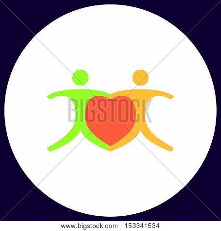 Pair Simple vector button. Illustration symbol. Color flat icon