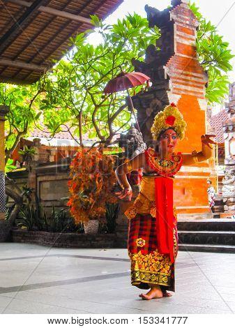 Sukawati Bali Indonesia - December 28 2008: Religious Barong dance in Bali at Indonesia