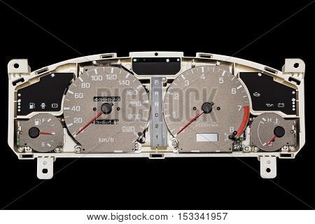 Internal part of speedometer engine rpm indicator engine temperature and fuel level indicator and transmission speed indicator isolated on black background with clipping path
