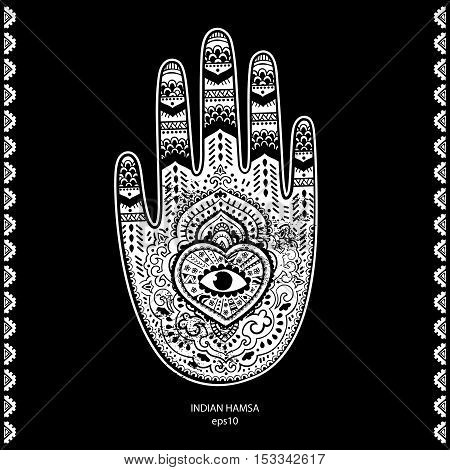 Vector Indian hand drawn hamsa symbol ornament print. Ethnic Mandala towel. Vector Henna tattoo style. Can be used for textile, greeting business card background, coloring book, phone case print