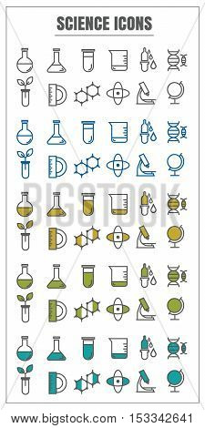 icons science vector color black blue Yellow green on white background