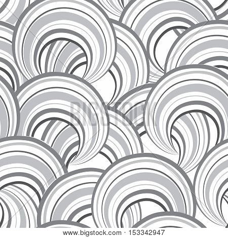 Abstract Wave Line And Loops Seamless Pattern. Grid Swirl Wavy Ornamental Background. Chaotic Flow M