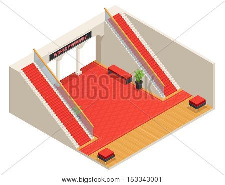 Color isometric design of foyer with red stairs and carpet vector illustration