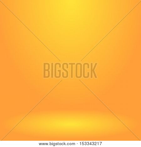 Abstract golden background for presentation. Empty room illuminated by a spotlight. Vector, eps 10.