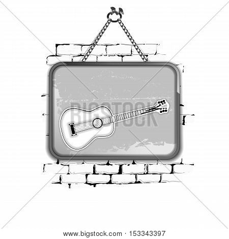 Template Stencil guitar in a frame on a brick wall in black and white style. Isolated objects on a white background can be used with any image or text.